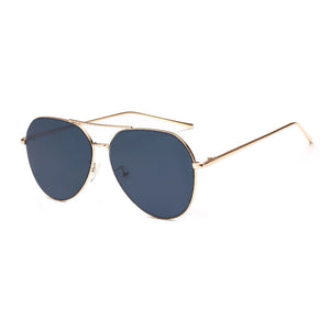 Briella Mirrored Aviator Sunglasses-Black Lens / Gold Frame