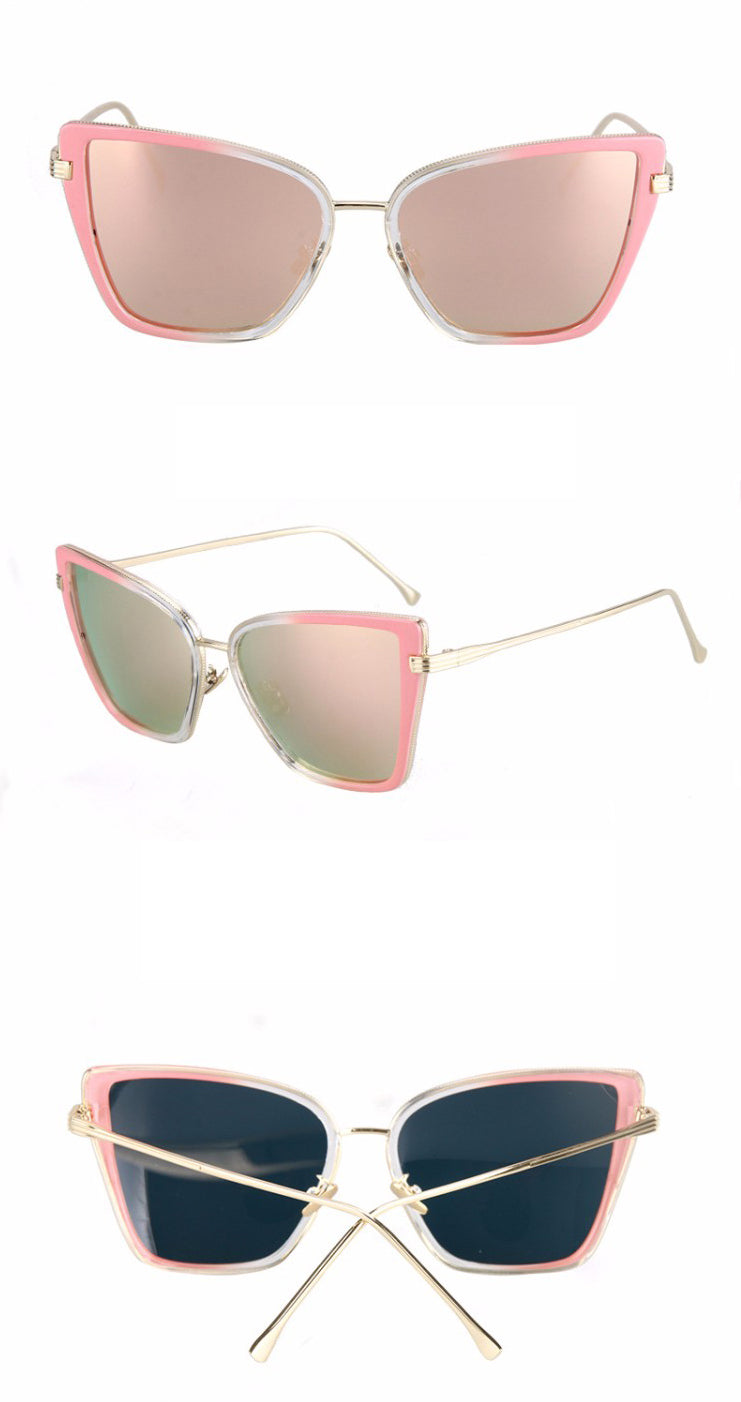 Black Cat Retro Sunglasses-Pink Lens / Pink Frame
