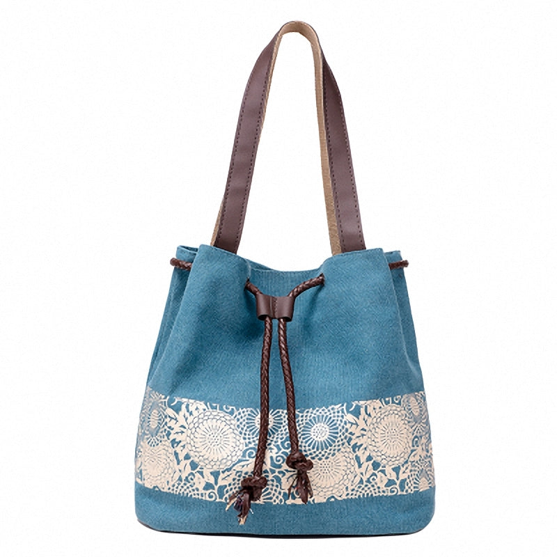 Blue Canvas Bucket Bag