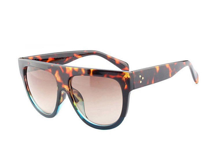 Amaro Flat Top Gradient Sunglasses-Brown Lens / Leopard Blue Frame