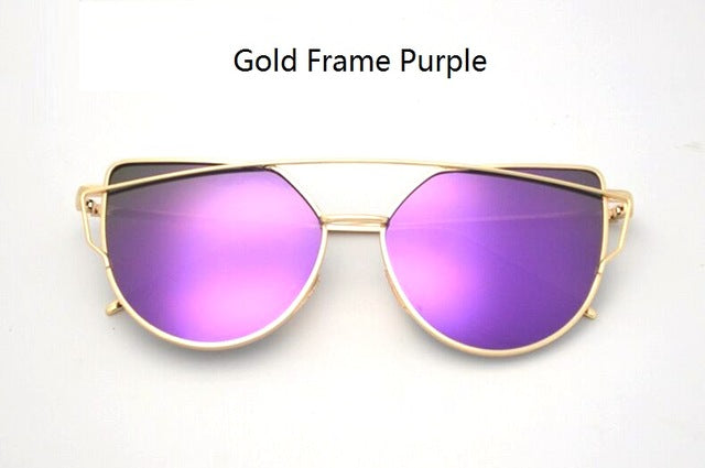 Celeste Cat Eye Mirrored Sunglasses-Blue Violet Lens / Gold Frame