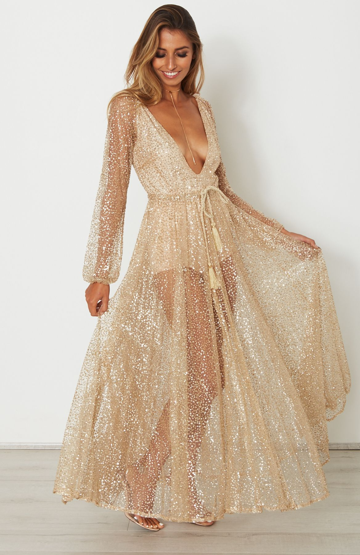 ailani gold chiffon dress