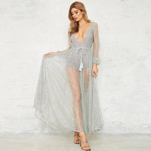 silver bodysuit chiffon dress