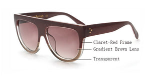 Amaro Flat Top Gradient Sunglasses-Brown Lens / Claret Red Transparent Frame