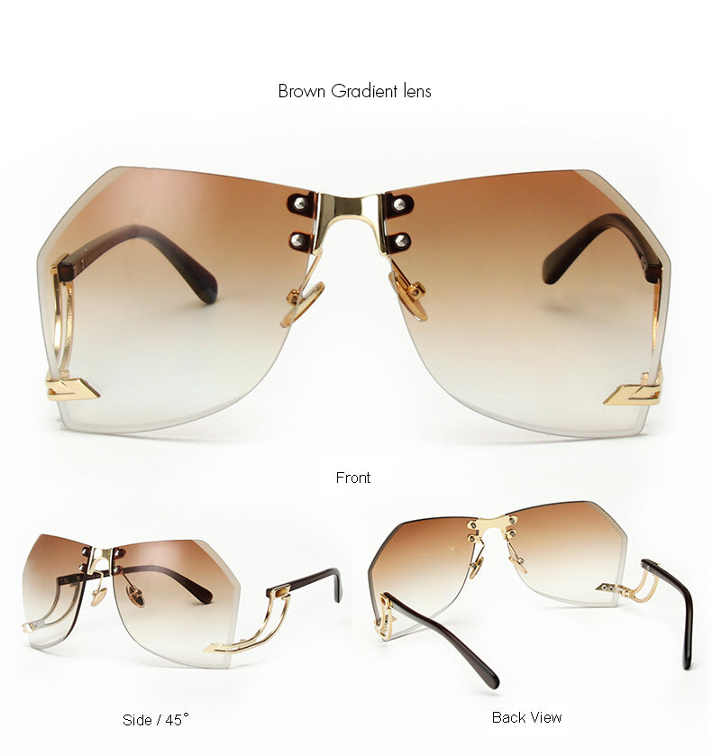 Tye Oversized Rimless Sunglasses-Brown Lens / Gold Frame