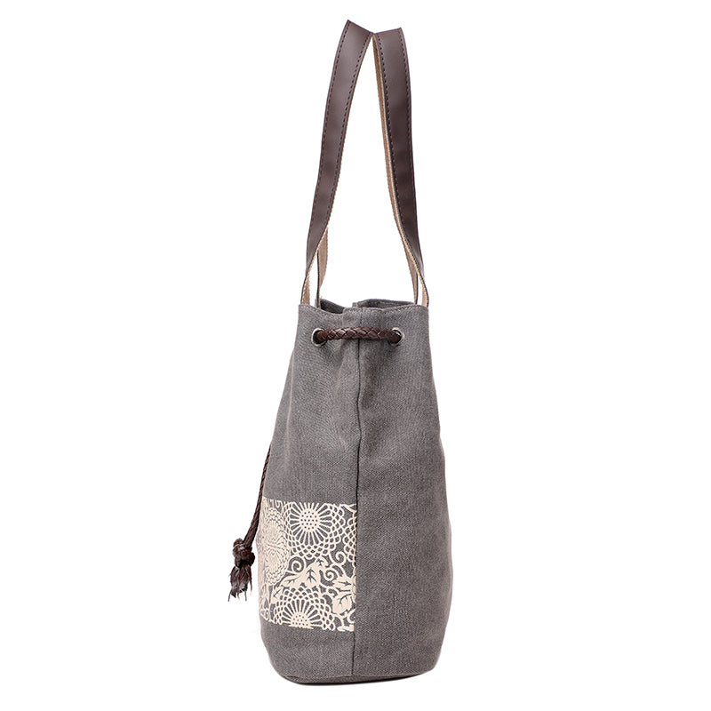 Canvas Bucket Bag - Grey