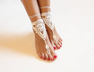 Crochet Footless Sandals - White