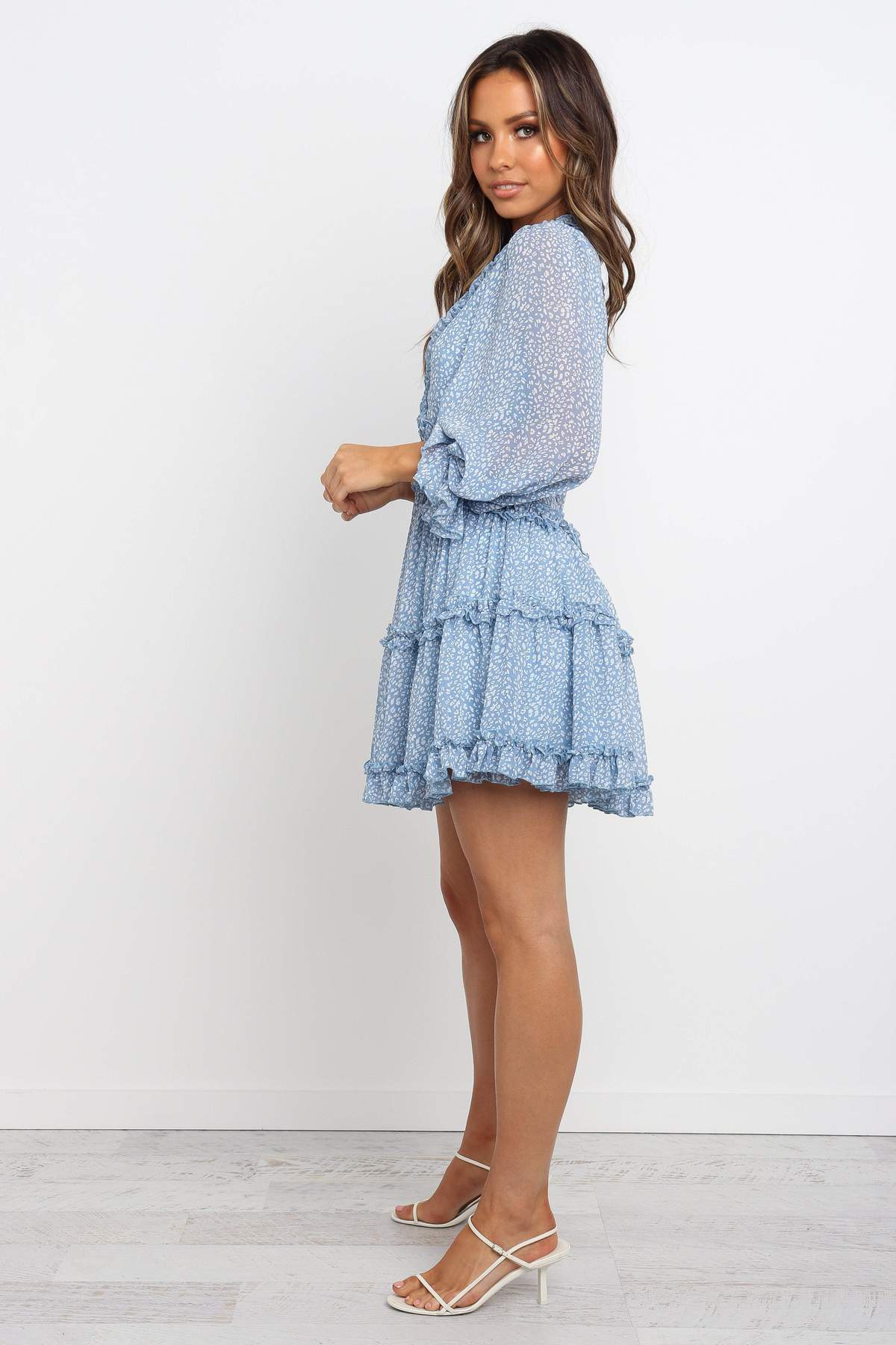 baby blue long sleeve ruffle mini dress