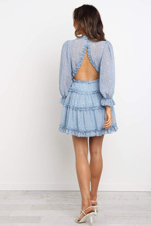 baby blue open back ruffle dress