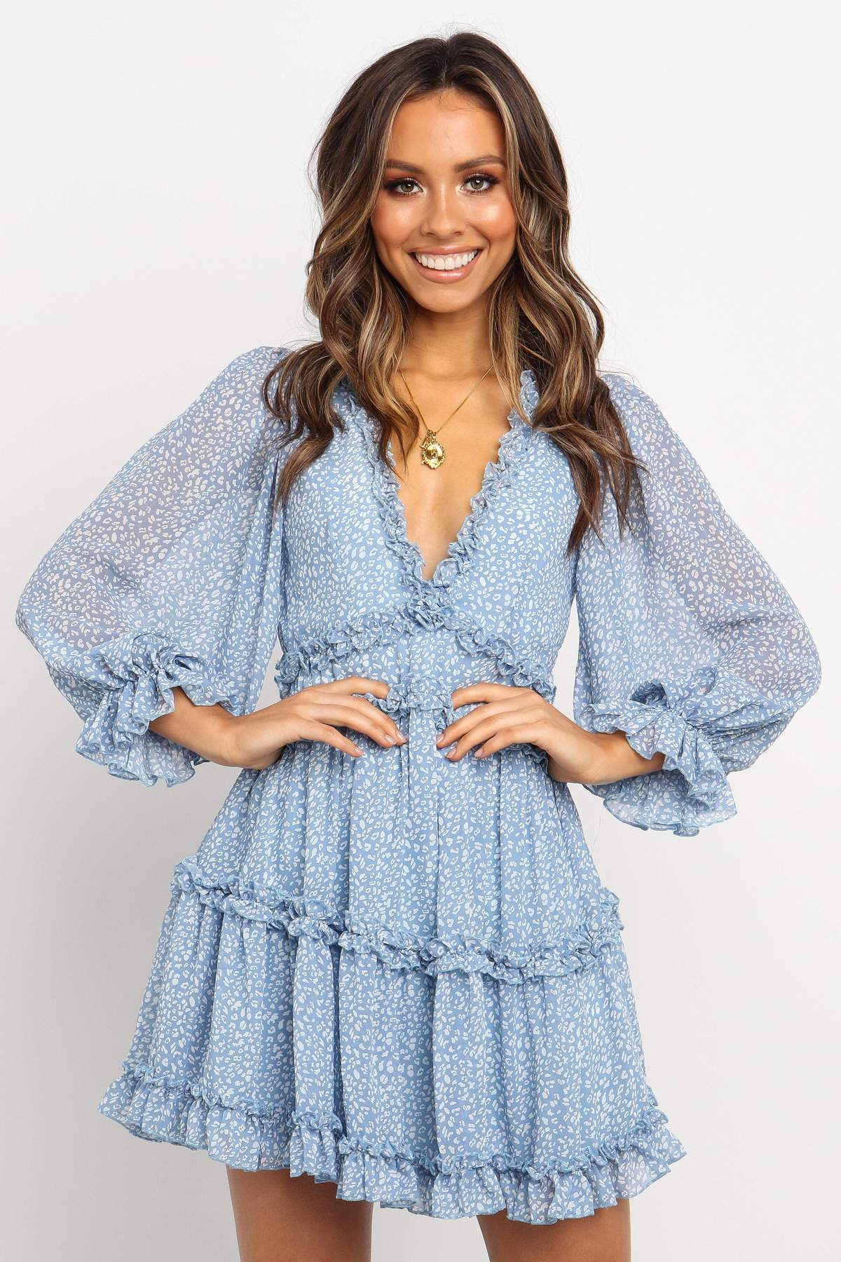 baby blue ruffle dress