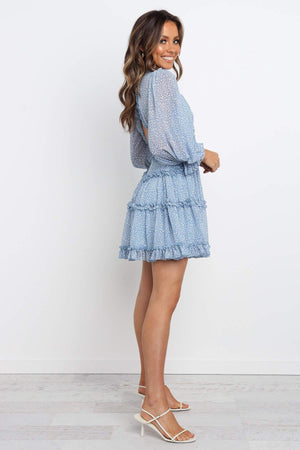 baby blue ruffle mini dress