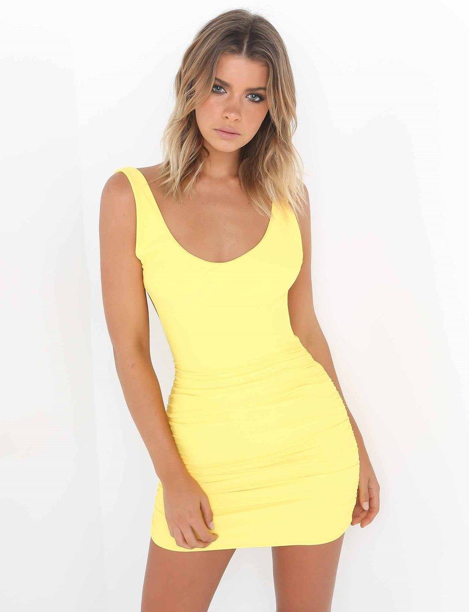backless bodycon dress - yellow