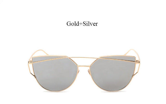 Celeste Cat Eye Mirrored Sunglasses-silver lans gold frame