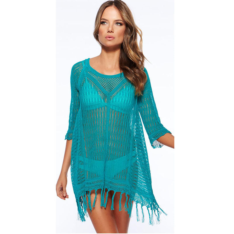 bahama mesh cover up turquoise