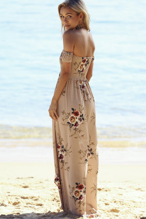 beige off shoulder maxi dress