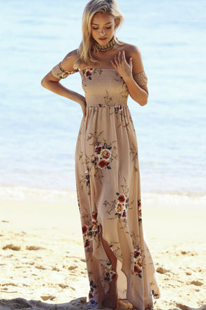 beige off the shoulder floral dress