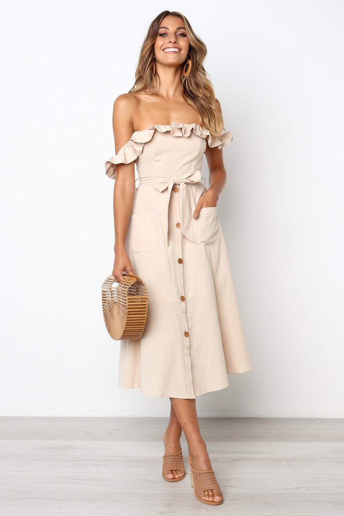 beige off the shoulder midi dress