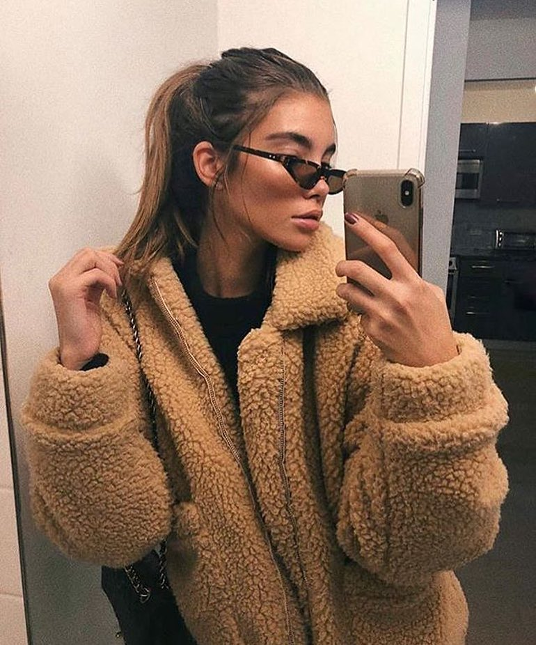 beige oversized teddy bear coat