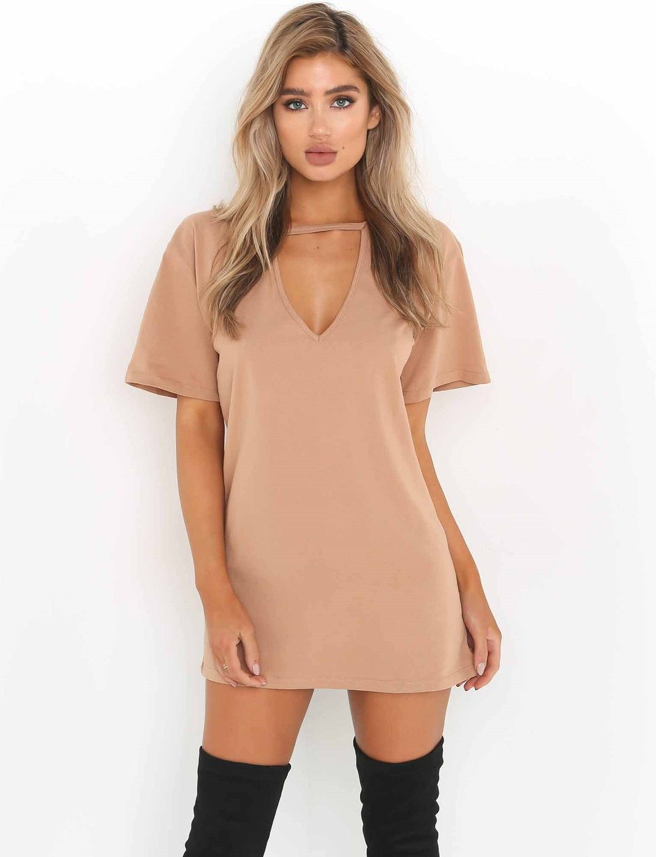 beige t shirt dress