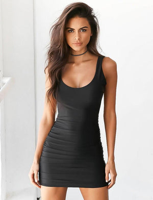 black backless bodycon dress