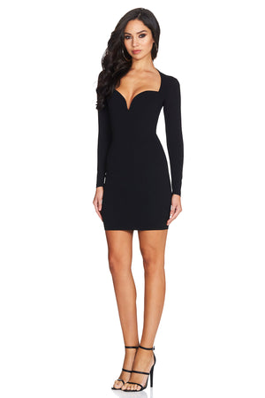 black bodycon plunge dress