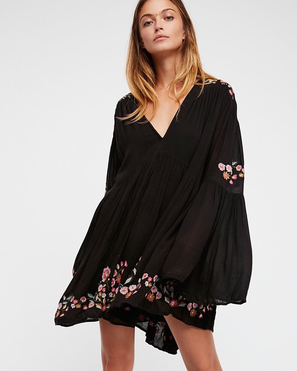 black boho mini dress