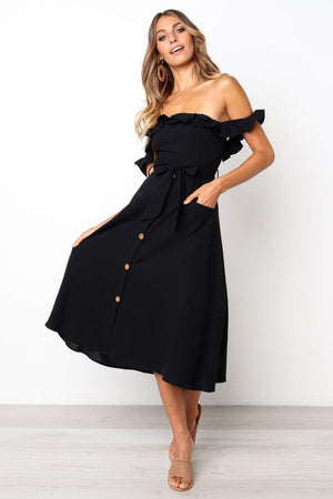 black button down off the shoulder midi dress
