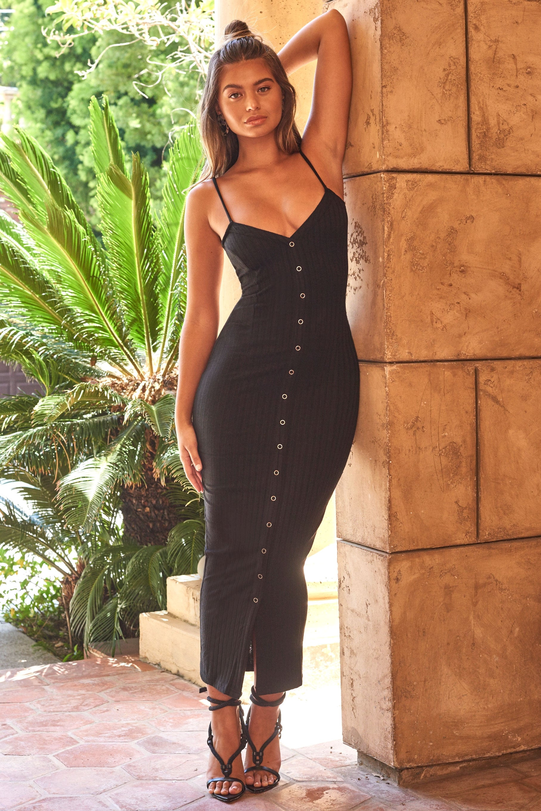 black button front maxi dress