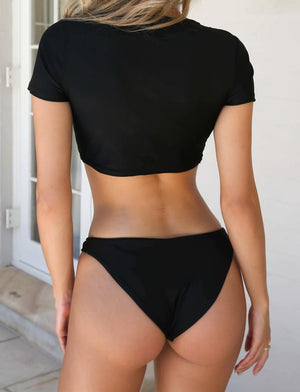 black cheeky crop top bikini