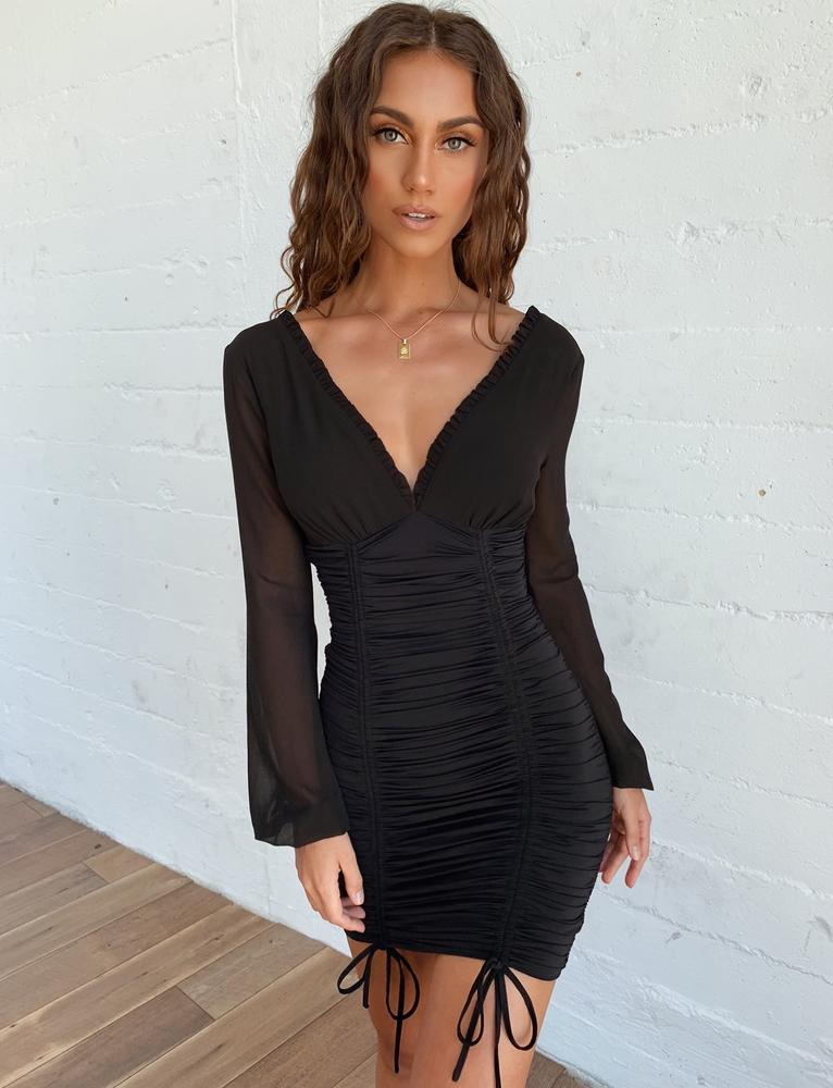 black chiffon sleeve dress