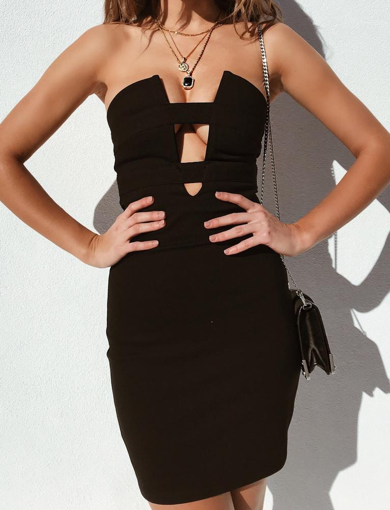 black cut out deep v plunge bodycon dress