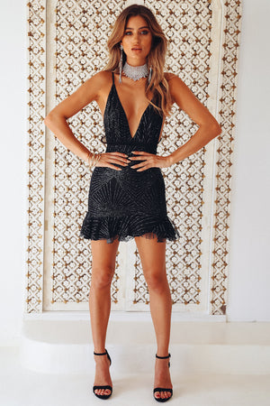 black glitter frill dress