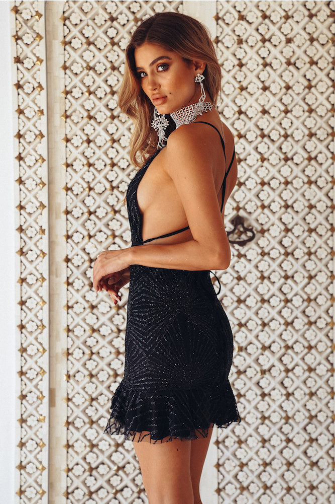 black glitter open back dress