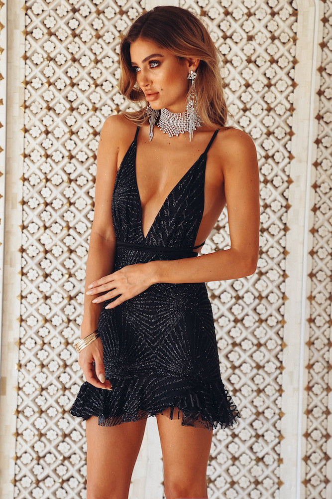 black glitter party dress