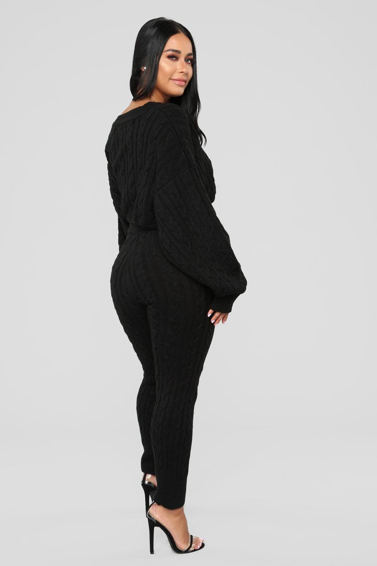black knit sweater and leggings set
