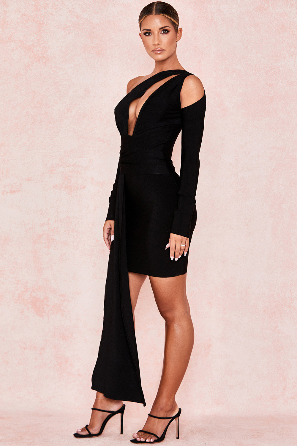 black long sleeve draped dress