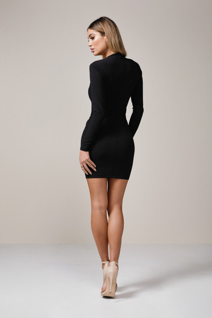 black long sleeve plunge mini dress
