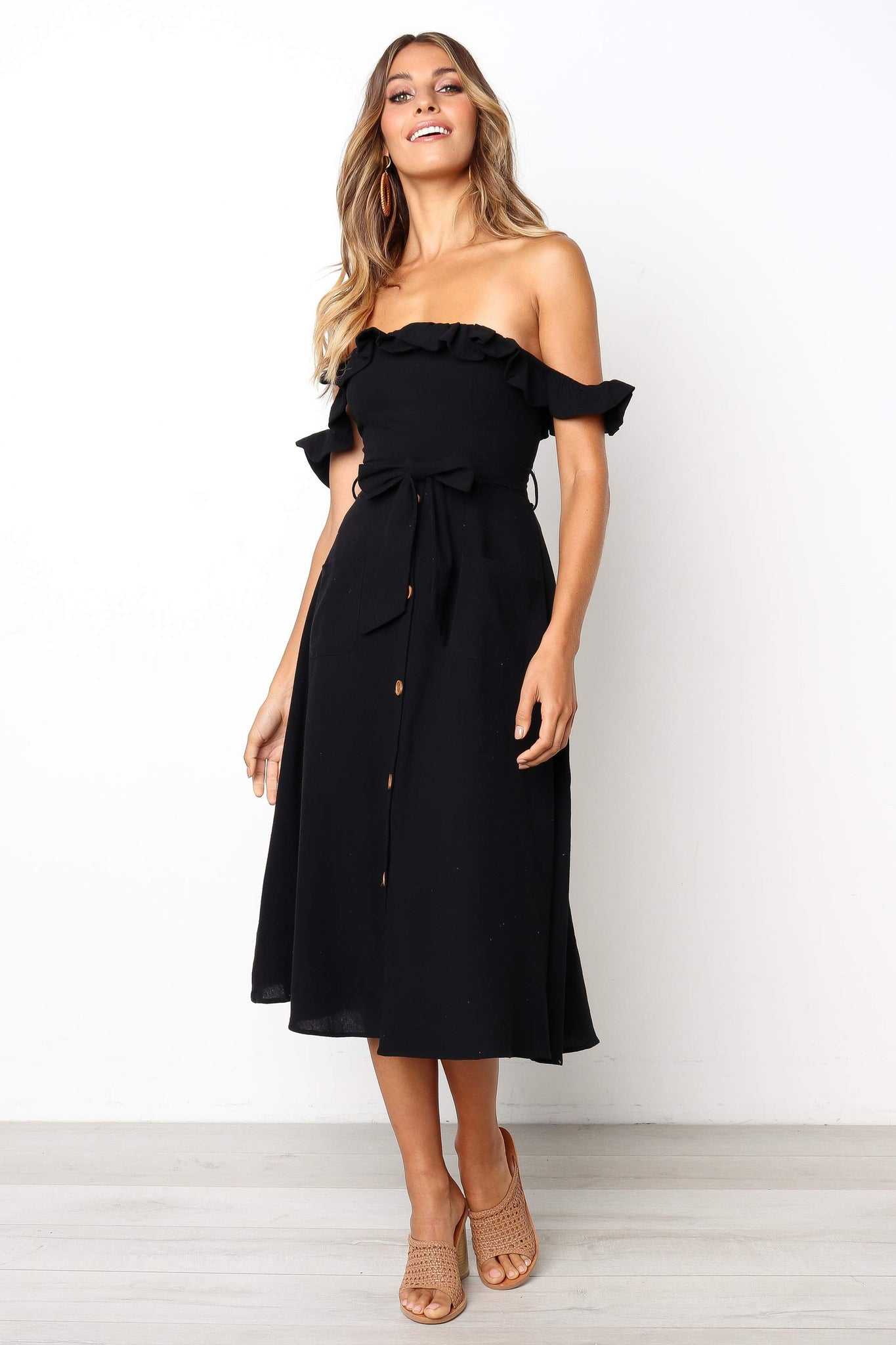 black off shoulder button down midi dress