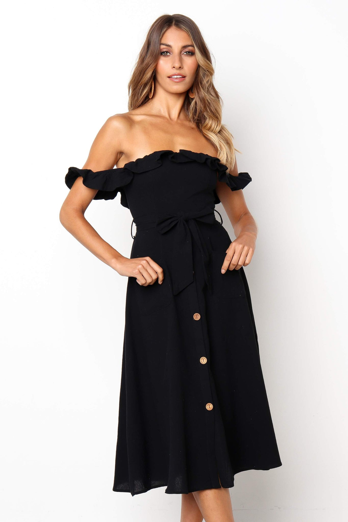 black off shoulder dress