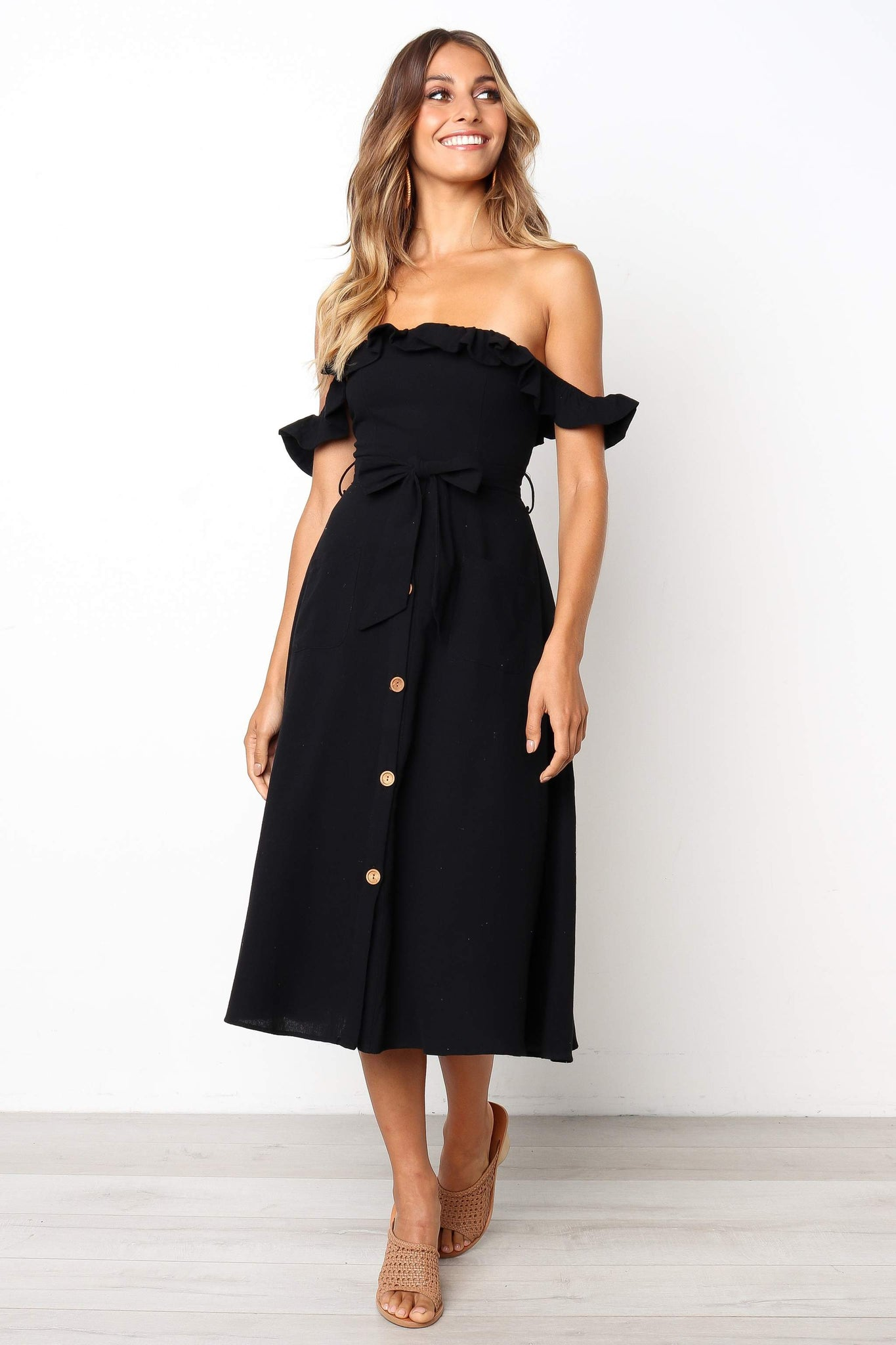black off shoulder midi dress