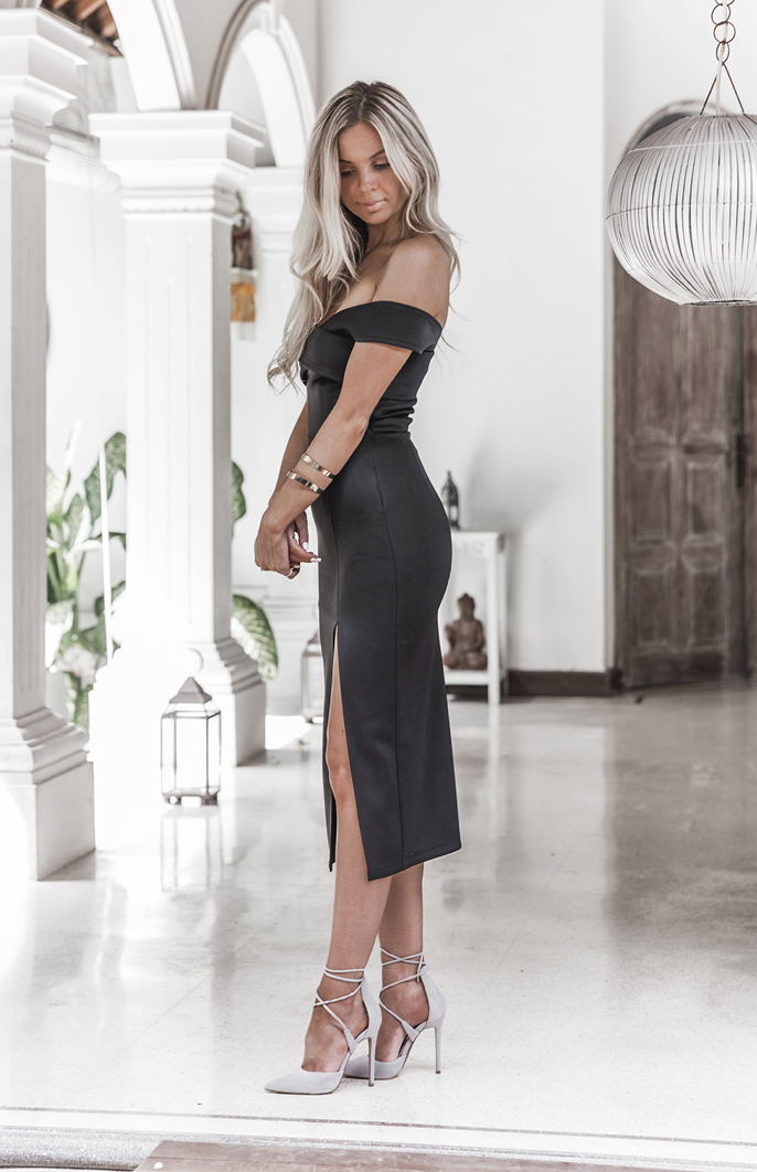 black off the shoulder evening gown