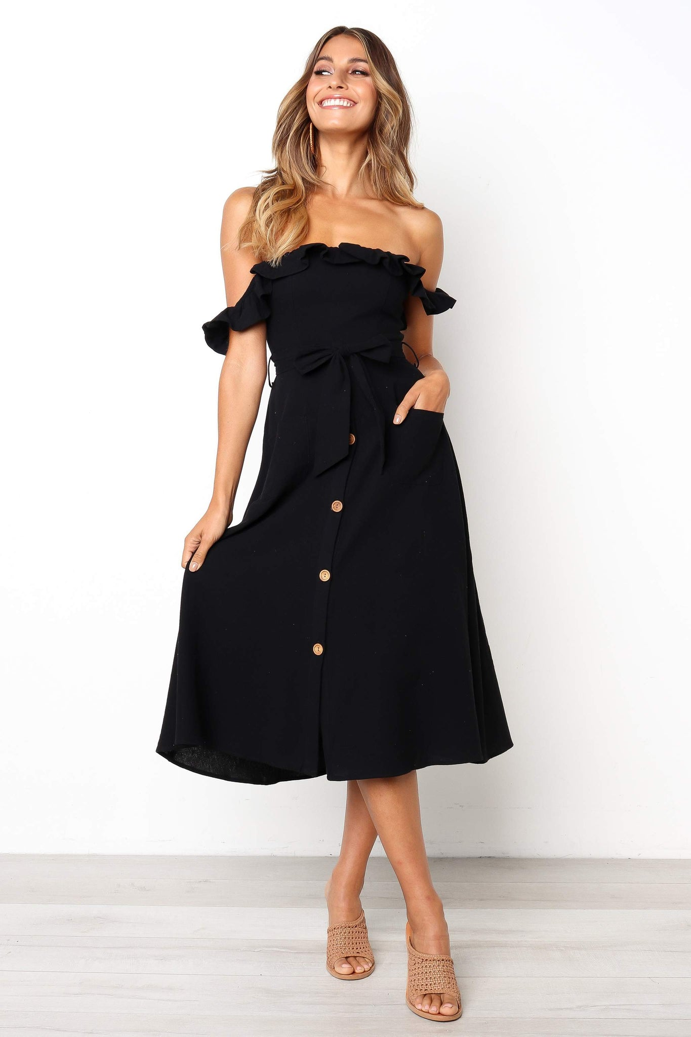 black off the shoulder midi dress