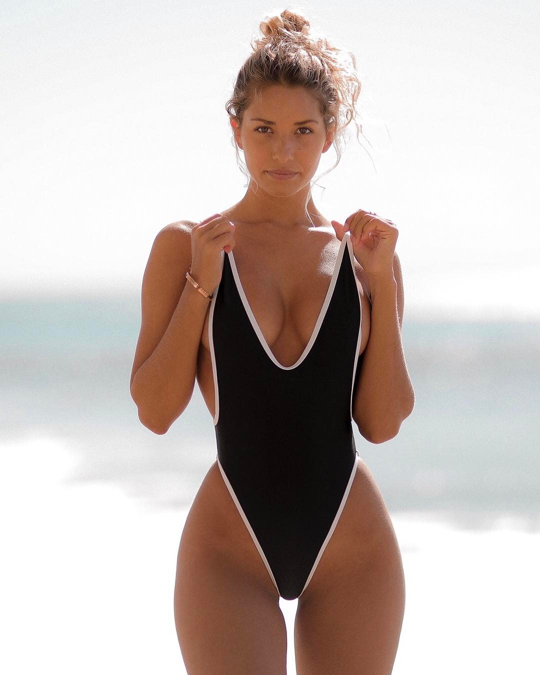 black one piece thong swimsuit