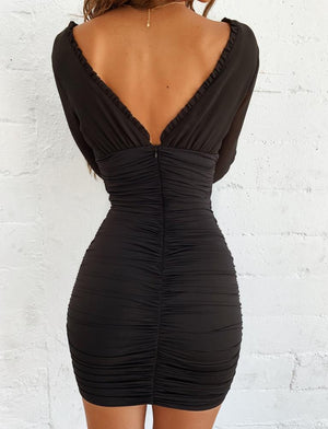 black open back long sleeve bodycon dress