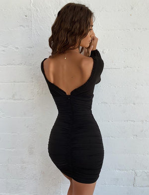 black open back long sleeve dress