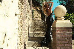black open back mermaid dress