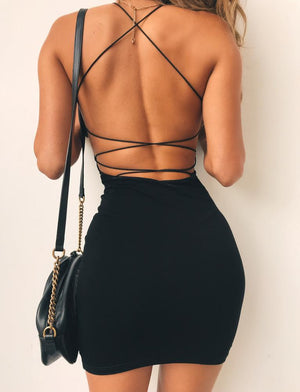 black open back mini dress