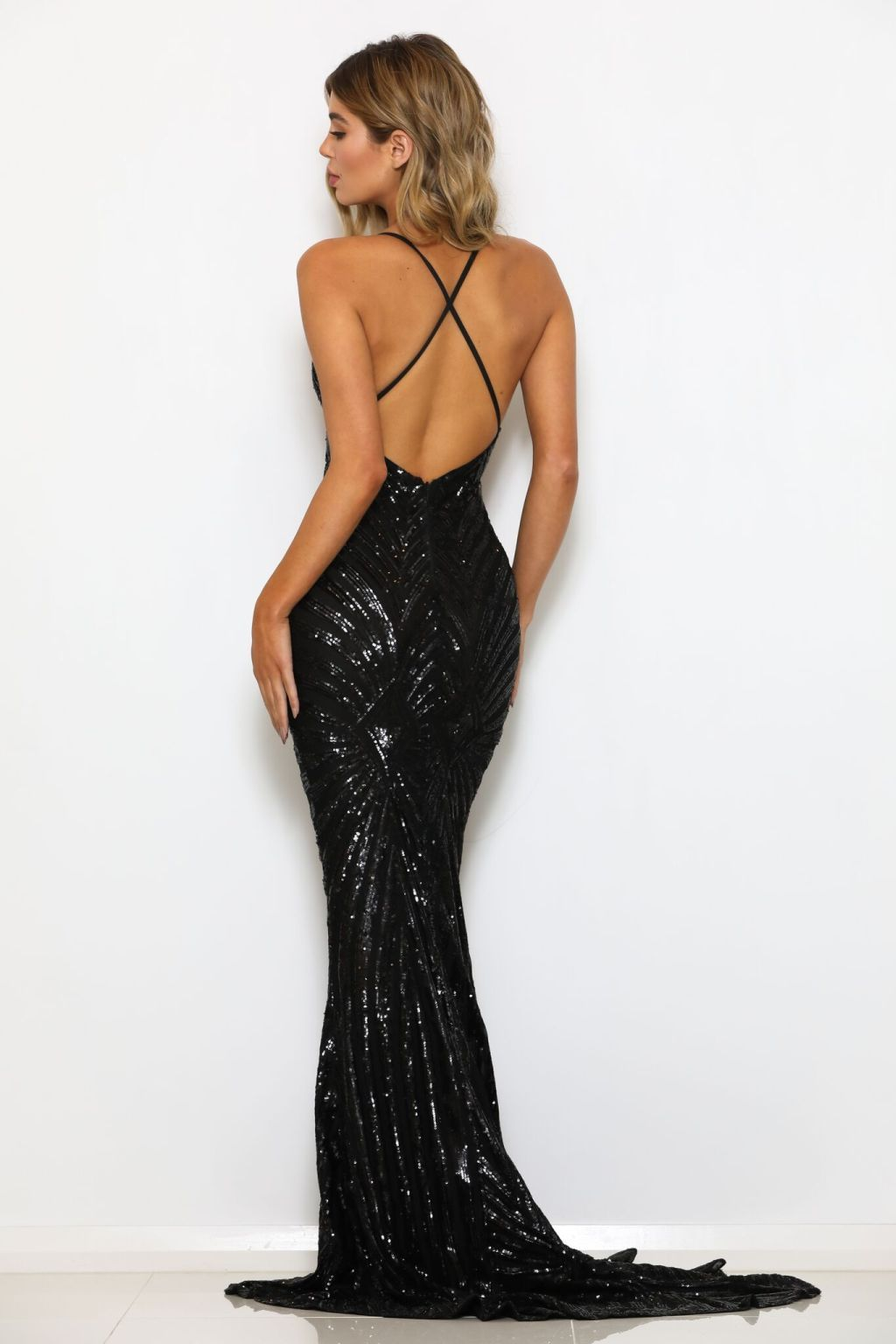 black open back sequin mermaid dress
