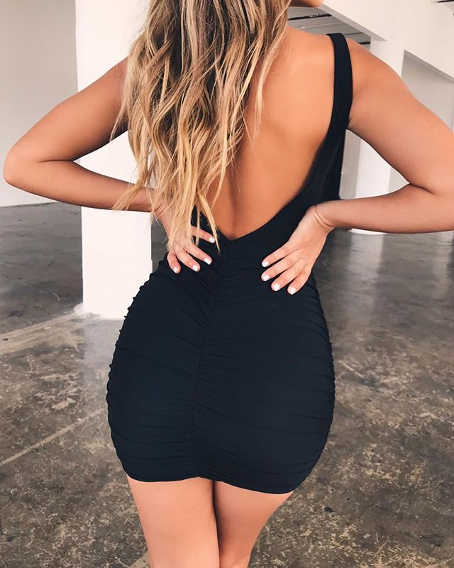 black open back tight dress