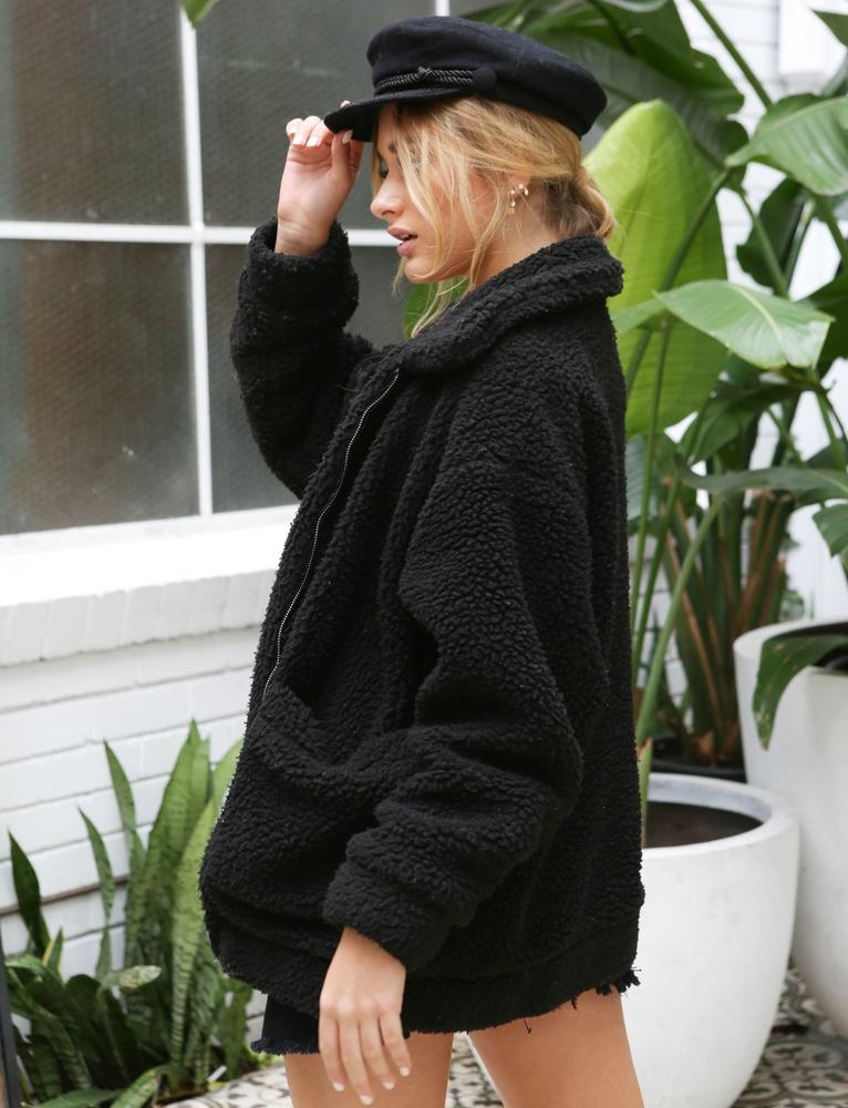 black oversized fleece teddy bear coat